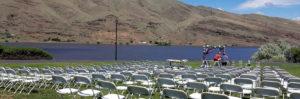 Outdoor wedding ceremony being set up