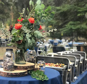 buffet at a wedding by Happy Day Catering