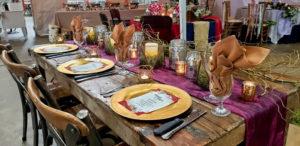 Birch Table with Lavender Wedding Theme Decor