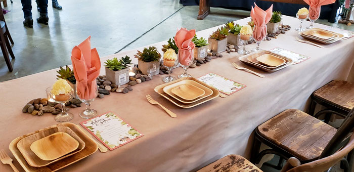 Living Coral with Succulents Wedding Decor Theme