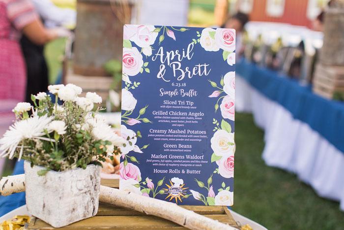 Buffet Wedding Barn Menu