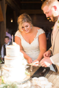 Bride and Groom Cut Cake at Wedding