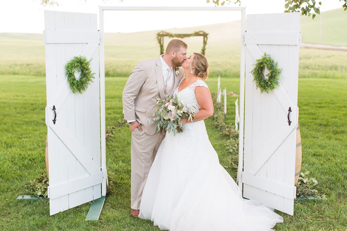 Happy Bride and Groom at Wedding at Mader Barn